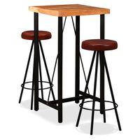 vidaXL Bar Set 7 Pieces Solid Acacia Wood and Genuine Leather