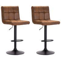 vidaXL Bar Stools 2 pcs Brown Faux Suede Leather