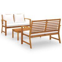 vidaXL 3 Piece Garden Lounge Set with Cushion Solid Acacia Wood