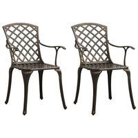 vidaXL Garden Chairs 2 pcs Cast Aluminum Bronze