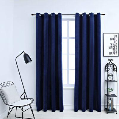 "vidaXL Blackout Curtains with Rings 2 pcs Navy Blue 54""x63"" Velvet"