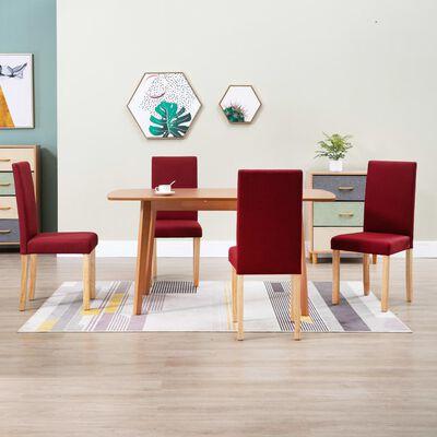 vidaXL Dining Chairs 4 pcs Wine Red Fabric