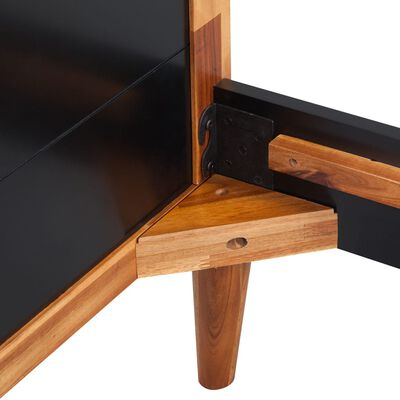 "vidaXL Bed Frame Black Solid Acacia Wood78.7""x70.9"""