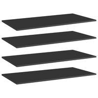 "vidaXL Bookshelf Boards 4 pcs High Gloss Black 31.5""x7.9""x0.6"" Chipboard"
