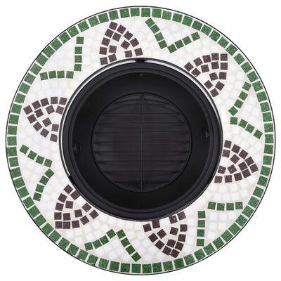 """vidaXL Mosaic Fire Pit Green 26.8"""" Ceramic"""