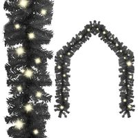 "vidaXL Christmas Garland with LED Lights 787.4"" Black"