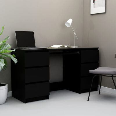 "vidaXL Writing Desk Black 55.1""x19.7""x30.3"" Chipboard"