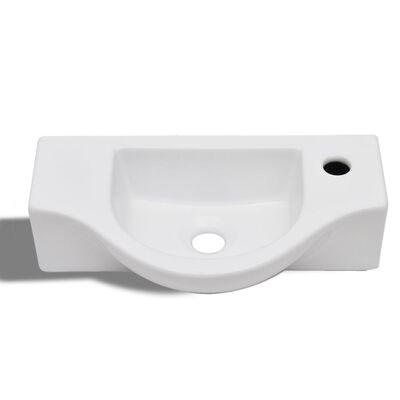 vidaXL Bathroom Basin with Faucet Hole Ceramic White