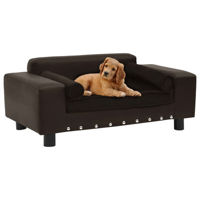 "vidaXL Dog Sofa Brown 31.9""x16.9""x12.2"" Plush and Faux Leather"