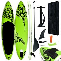"""vidaXL Inflatable Stand Up Paddleboard Set 126""""x29.9""""x5.9"""" Green"""