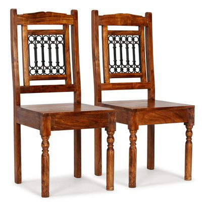 vidaXL Dining Chairs 2 pcs Solid Wood with Sheesham Finish Classic