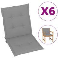 "vidaXL Garden Chair Cushions 6 pcs Gray 39.4""x19.7""x1.6"""