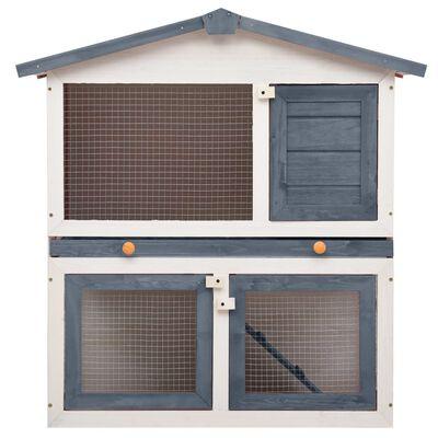 vidaXL Outdoor Rabbit Hutch 3 Doors Gray Wood