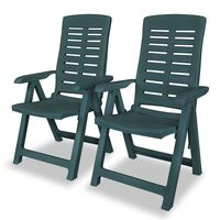 vidaXL Reclining Garden Chairs 2 pcs Plastic Green
