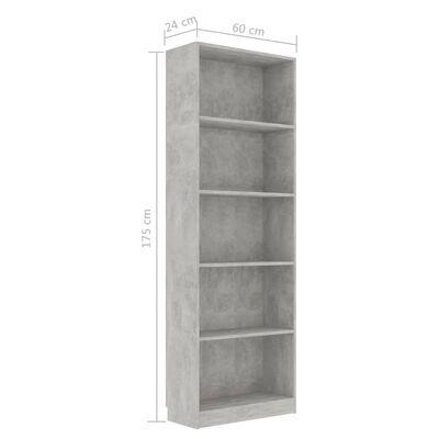"vidaXL 5-Tier Book Cabinet Concrete Gray 23.6""x9.4""x68.9"" Chipboard"