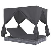 vidaXL Outdoor Lounge Bed with Curtains Poly Rattan Gray