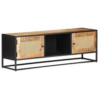 "vidaXL TV Cabinet 47.2""x11.8""x15.7"" Rough Mango Wood and Natural Cane"