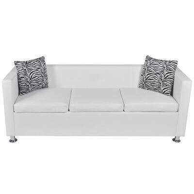 vidaXL Sofa Set Armchair 2-Seater 3-Seater White Faux Leather