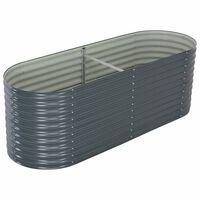"vidaXL Garden Raised Bed 94.4""x31.4""x31.8"" galvanized Steel Gray"