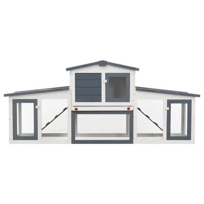 """vidaXL Outdoor Large Rabbit Hutch Gray and White 80.3""""x17.7""""x33.5"""" Wood"""