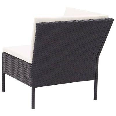 vidaXL 3 Piece Garden Lounge Set with Cushions Poly Rattan Black