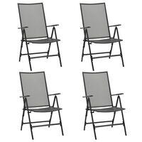 vidaXL Folding Mesh Chairs 4 pcs Steel Anthracite