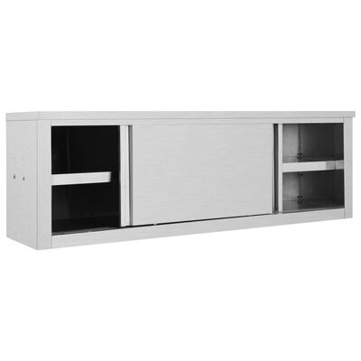 """vidaXL Kitchen Wall Cabinet with Sliding Doors 59.1""""x15.7""""x19.7"""" Stainless Steel"""