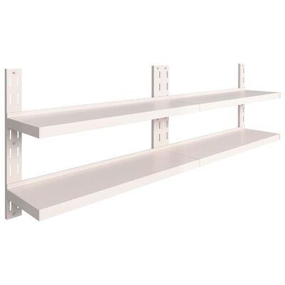 "vidaXL 2-Tier Floating Wall Shelves 2 pcs Stainless Steel 94.5""x11.8"""