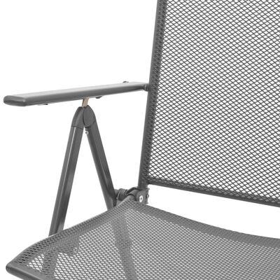 vidaXL Stackable Garden Chairs 2 pcs Steel Gray