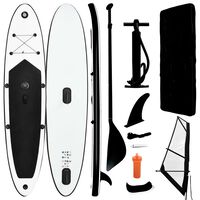 vidaXL Inflatable Stand Up Paddleboard with Sail Set Black and White