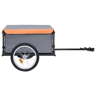 vidaXL Bike Cargo Trailer Gray and Orange 143.3 lb