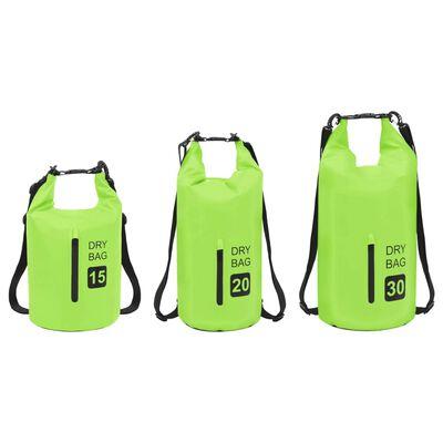 vidaXL Dry Bag with Zipper Green 5.3 gal PVC