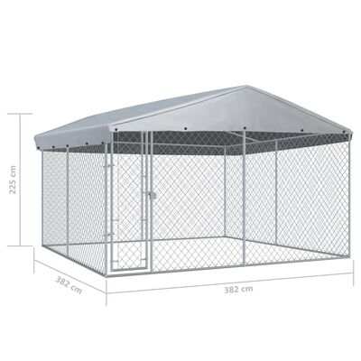"""vidaXL Outdoor Dog Kennel with Roof 150.4""""x150.4""""x88.6"""""""