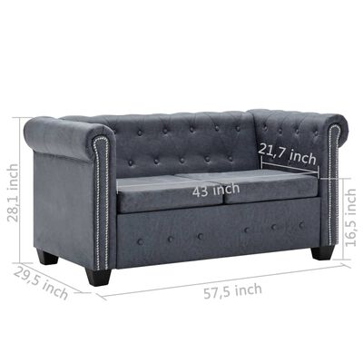 vidaXL 2-Seater Chesterfield Sofa Artificial Suede Leather Gray