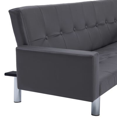 vidaXL Sofa Bed with Armrest Gray Faux Leather