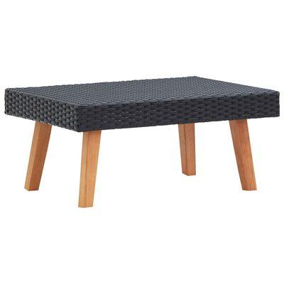 vidaXL Garden Coffee Table Poly Rattan Black