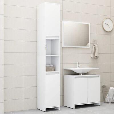 vidaXL 3 Piece Bathroom Furniture Set White Chipboard