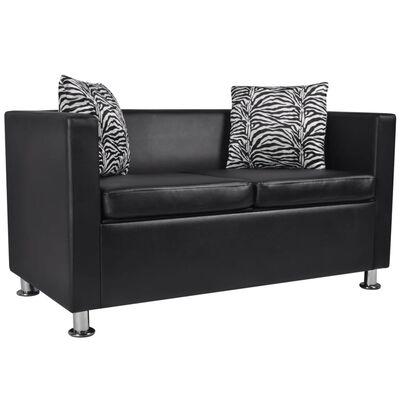 vidaXL Sofa 2-Seater Artificial Leather Black