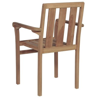 vidaXL Stackable Garden Chairs with Cushions 4 pcs Solid Teak Wood