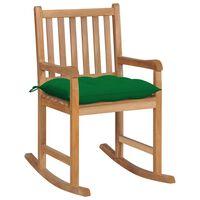 vidaXL Rocking Chair with Green Cushion Solid Teak Wood