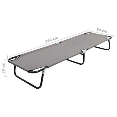 vidaXL Folding Sun Lounger Gray Steel