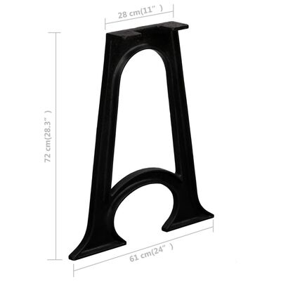 vidaXL Dining Table Legs 2 pcs with Arched Base A-Frame Cast Iron