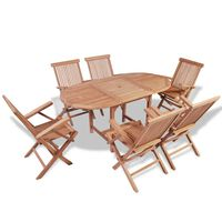 vidaXL B-ware 7 Piece Outdoor Dining Set Solid Teak