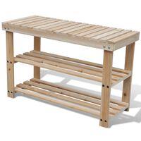 vidaXL 2-in-1 Shoe Rack with Bench Top Solid Fir Wood