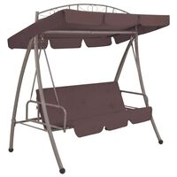 vidaXL Outdoor Convertible Swing Bench with Canopy Coffee