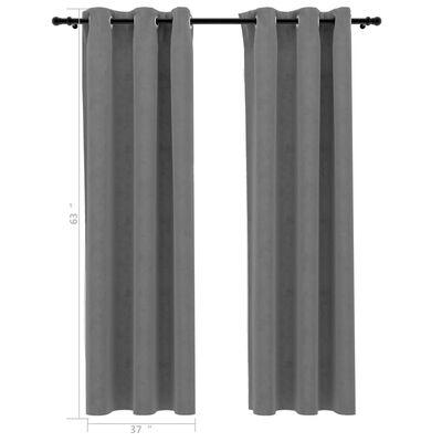 "vidaXL Blackout Curtains with Rings 2 pcs Gray 37""x63"" Velvet"