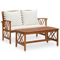 vidaXL 2 Piece Garden Lounge Set with Cushions Solid Acacia Wood