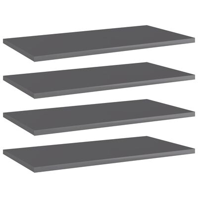 "vidaXL Bookshelf Boards 4 pcs High Gloss Gray 23.6""x11.8""x0.6"" Chipboard"