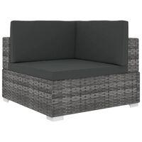 vidaXL Sectional Corner Chair with Cushions Poly Rattan Gray