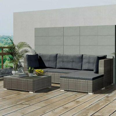 vidaXL 5 Piece Garden Lounge Set with Cushions Poly Rattan Gray
